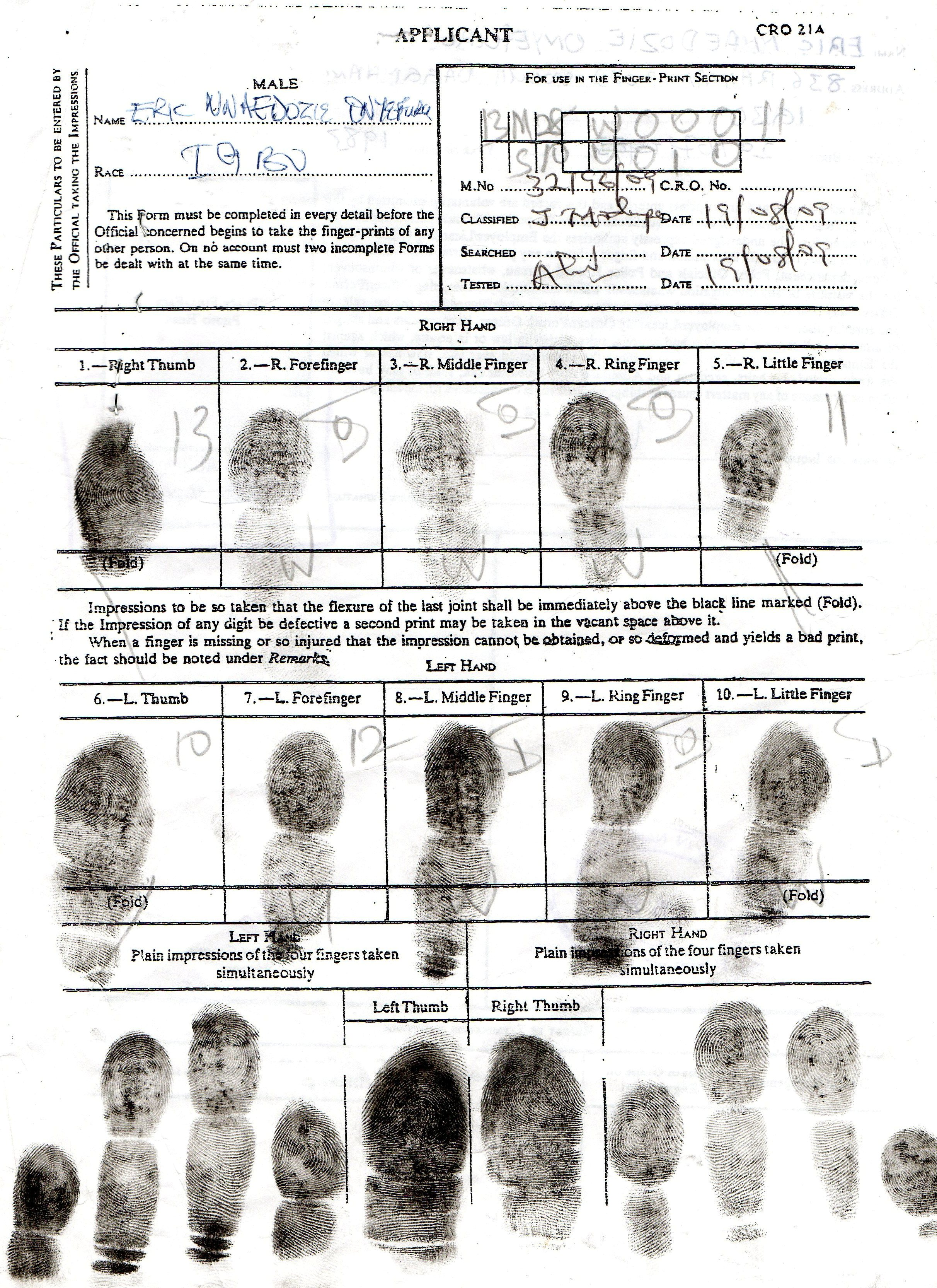 To View A Sample Of Completed Fingerprint Page, Click Here.